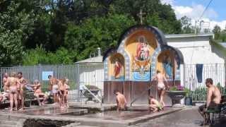 Девушка купается в купели Саржин яр Харьков The girl bathes in the font Sarzhin yar Kharkov
