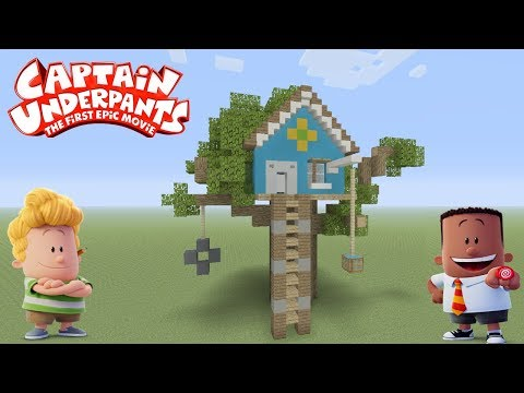 """Minecraft Tutorial: How To Make Harold And Georges Tree House """"Captain Underpants"""""""