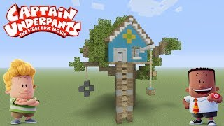 "Minecraft Tutorial: How To Make Harold And Georges Tree House ""Captain Underpants"""