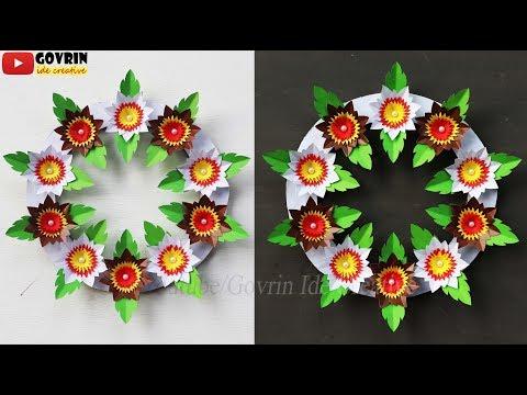 BEAUTIFUL FLOWER WALL HANGING - HIASAN DINDING   IDE KREATIF MEMBUAT HIASAN DINDING DARI KERTAS