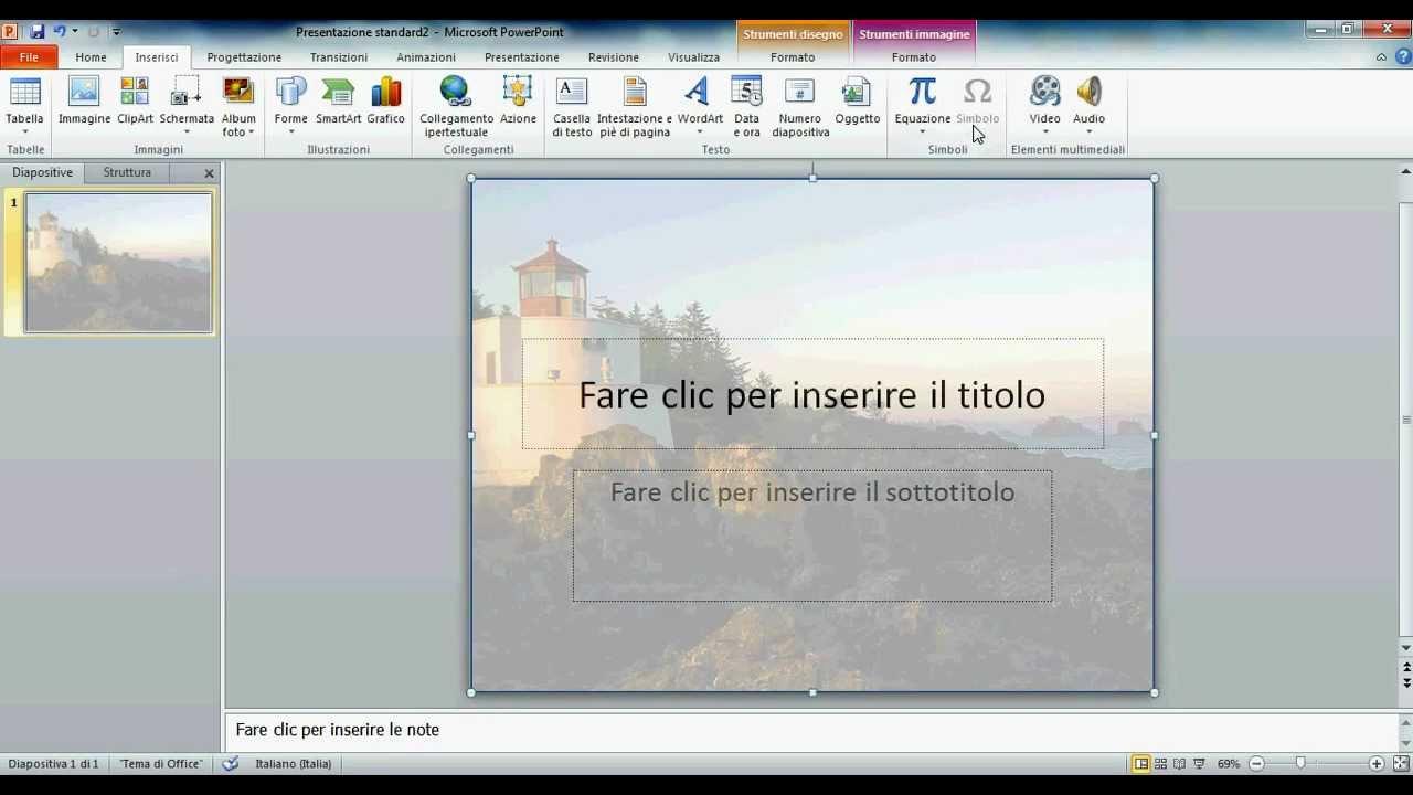 Inserire immagine sfondo powerpoint