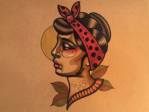 How to Draw a Neo Traditional Rockabilly Tattoo Design