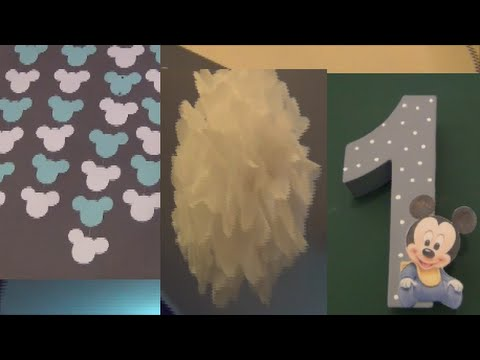 leons 1 geburtstag baby micky maus party diy deko zahl h ngegirlande pompons youtube. Black Bedroom Furniture Sets. Home Design Ideas