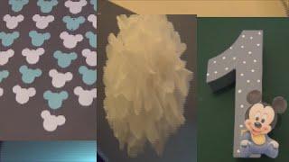 Leons 1.Geburtstag/ Baby Micky Maus Party/ DIY Deko/ Zahl, hängegirlande & Pompons