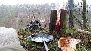 Making a Swedish torch log fire with only a knife