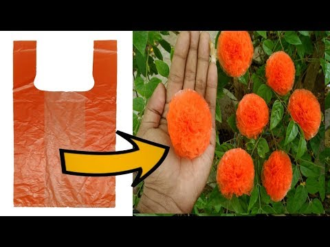 Plastic Carry Bags Flowers Making DIY How to Make Flower From Shopping bags in Gbalaji Crafts