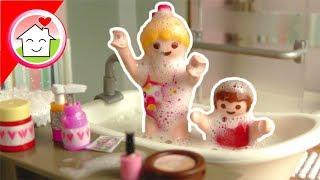 Playmobil Film - Schaummonster Anna und Lena - Bade Routine Familie Hauser Kinder Spielzeug Video