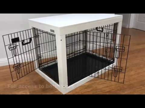 VEBO Collapsible Dog Crate with Timber Table Frame
