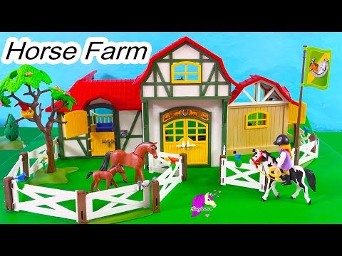 Horse Farm ! Playmobil Barn , Tack Room, Stalls Building Playset Toy Video