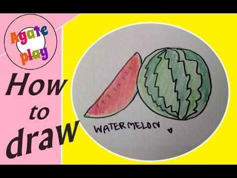 How to draw watermelon |วาดแตงโม | วาดรูป ระบายสี กับอาเกศ