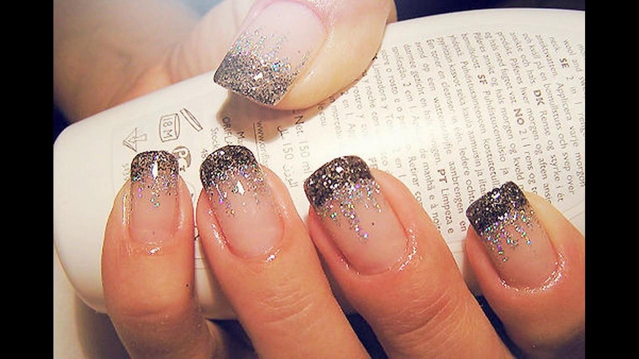 Diseño de uñas decoradas con brillo sencillas y elegantes - YouTube