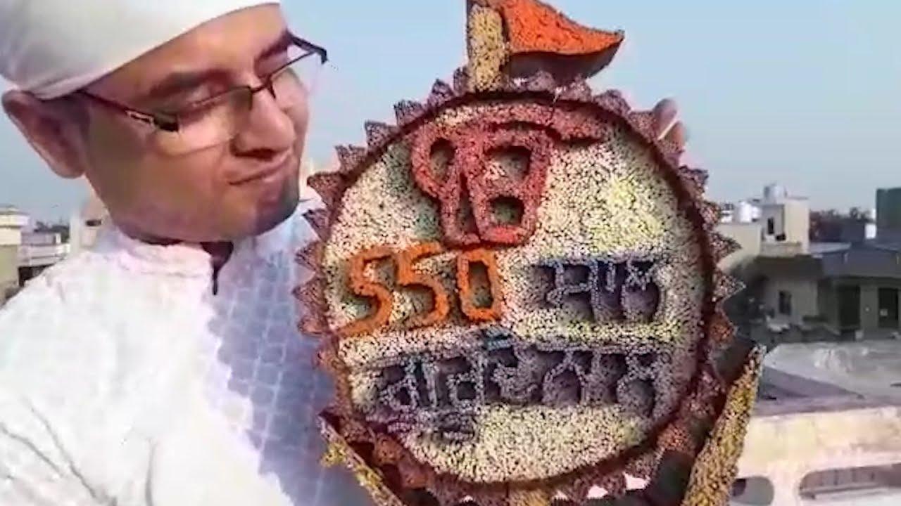 Amritsar: Artist Baljinder Singh Mann shows his creation dedicated to Guru Nanak Dev