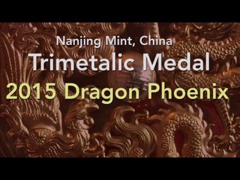2015 Nanjing Mint Trimetal Dragon and Phoenix Medal in Silver Brass and Copper