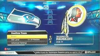 Madden NFL 13 Demo Xbox 360  The SeaHawks Vs The Redskins  Walk-Through Part 1