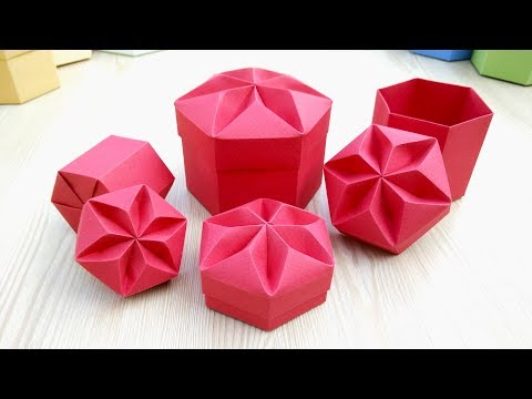 DIY Valentine gift box with star shaped lid. REALLY  EASY Origami Hexagonal Box.