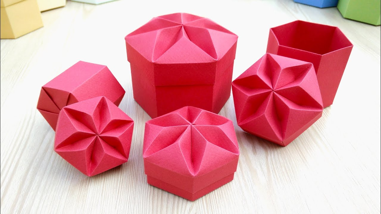 diy valentine gift box with star shaped lid really easy origami hexagonal box  [ 1280 x 720 Pixel ]