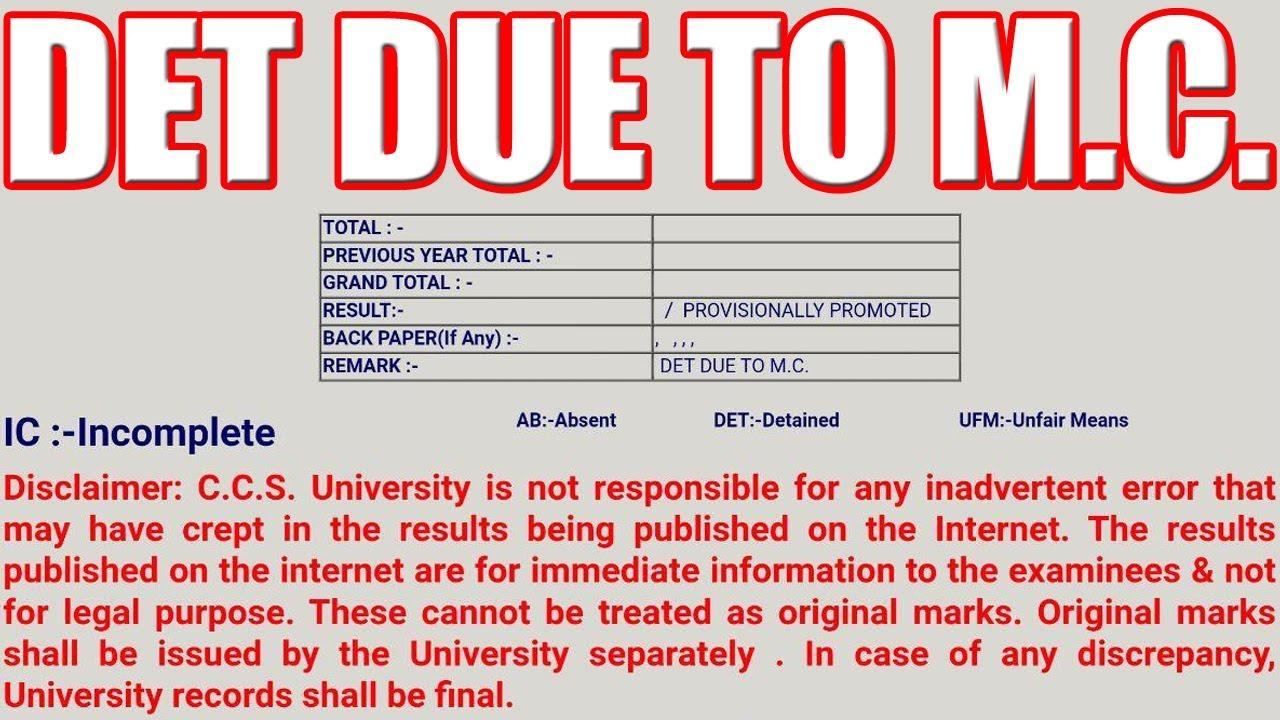 DET DUE TO M.C. or DET DUE TO M.S.   CCS University
