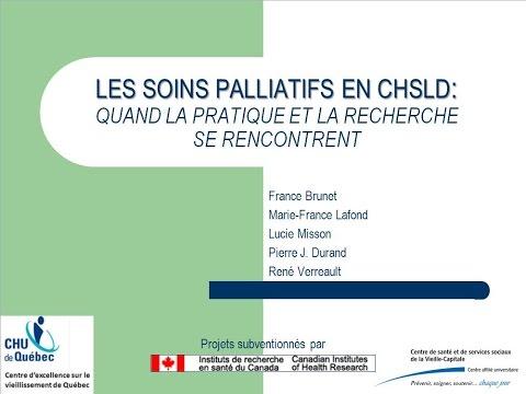 Les soins palliatifs en CHSLD : quand la pratique et la recherche se rencontrent.