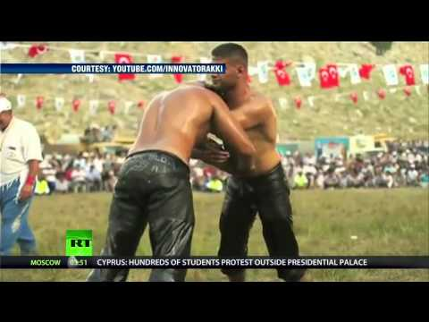 Crazy Alert! Beefy Men Oil Wrestling...but wait - there's more - YouTube