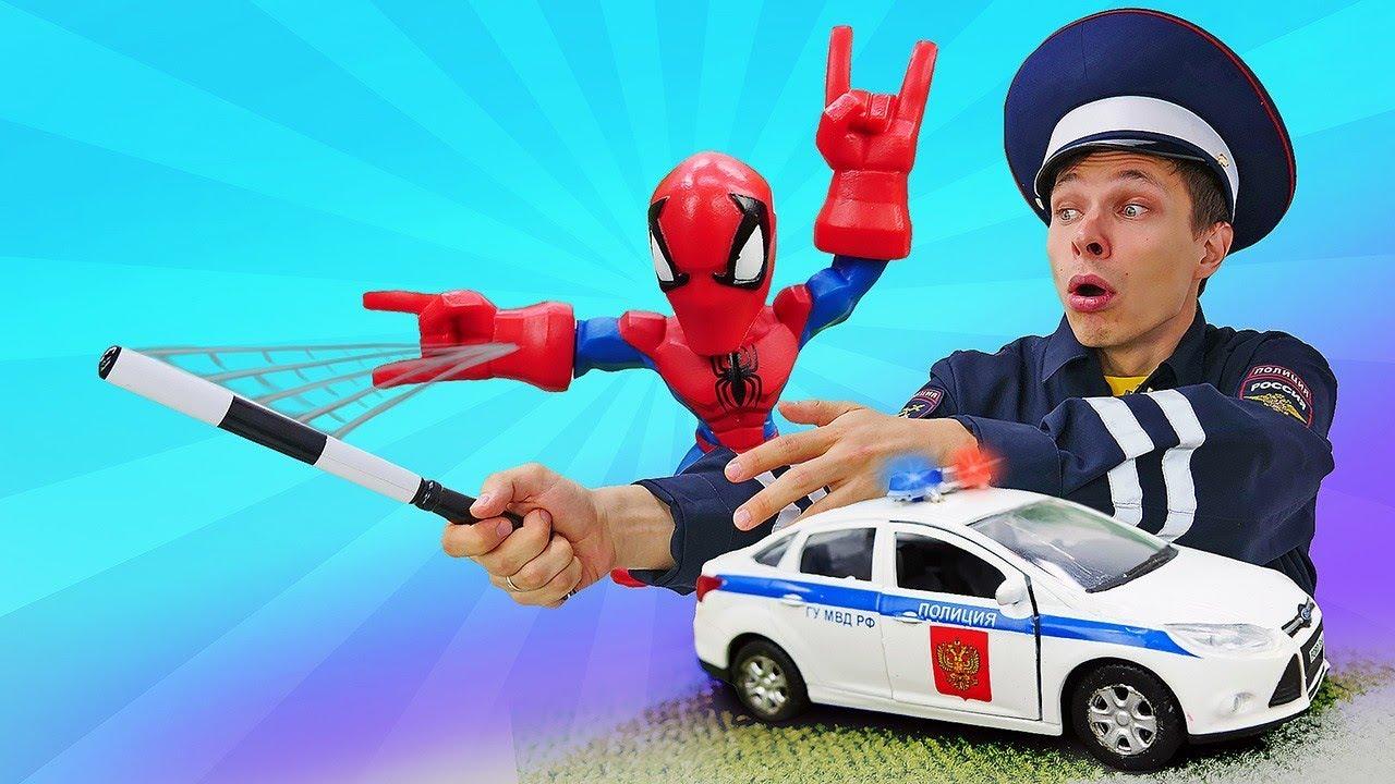 Игры для мальчиков. Человек Паук и Фёдор – полицейские! Видео с машинками в Автомастерской.