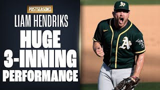 A's reliever liam hendriks was extremely clutch in alds game 3, going 3 innings relief and preserving the lead! he struck out four astros on way to th...