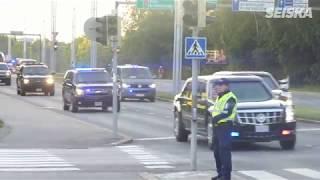 Presidentti Donald Trump saapui Suomeen - useiden autojen saattue!