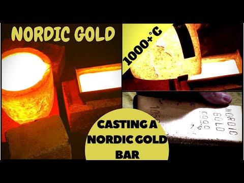 CASTING A SOLID NORDIC GOLD BAR -  nordic gold bullion bar casting at home