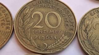 Eight 20 Cent & One 10 Cent Francaise Coins