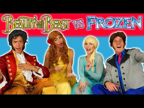 ELSA & HANS VS BELLE & GASTON FROZEN VS BEAUTY AND THE BEAST SONG CHALLENGE Dress Up Characters