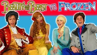 ELSA & HANS VS BELLE & GASTON. FROZEN VS BEAUTY AND THE BEAST SONG CHALLENGE. (Dress Up Characters)