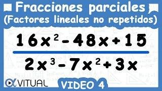 Descomposición en Fracciones parciales Factores lineales no repetidos ejemplo 4 método II