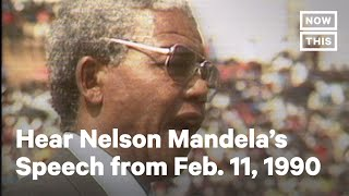 Nelson Mandela Gives Speech After Release From Prison on Feb. 11, 1990   NowThis