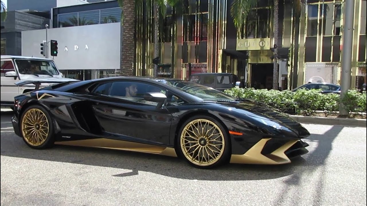 2017 Lamborghini Aventador Lp750 4 Superveloce >> Black & Gold Lamborghini Aventador SV in Beverly Hills - YouTube