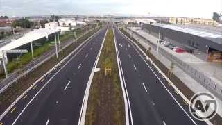 Aerial footage of major transport improvements in Panmure, the $180...