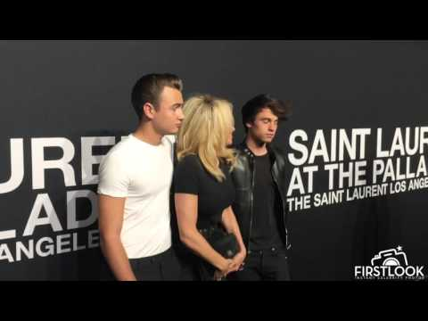 Pamela Anderson and sons at Saint Laurent at the Palladium