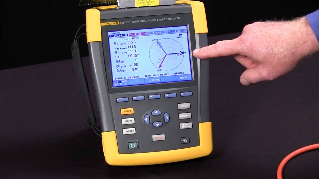 How To Connect Using The Phasor Diagram On A Fluke 435