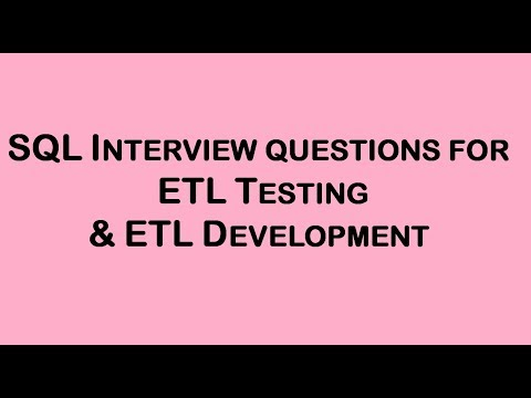 ETL & SQL interview latest questions and Answers