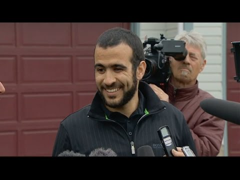 Omar Khadr speaks to media