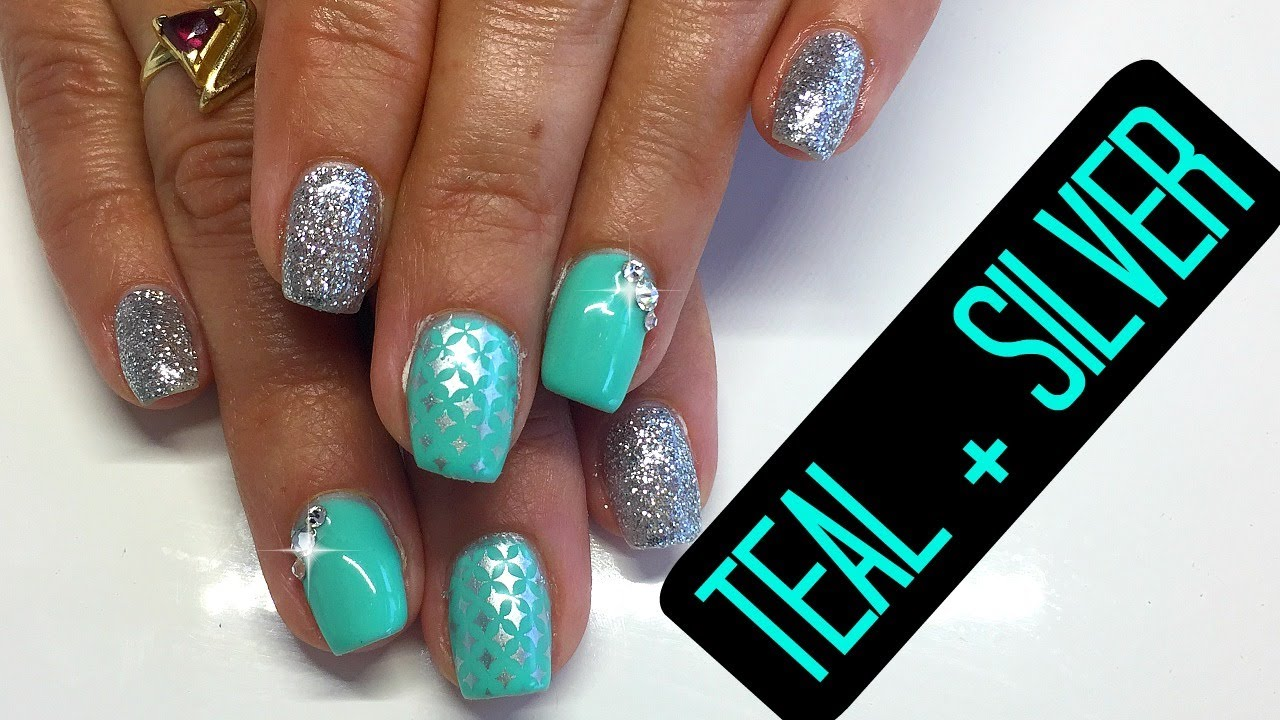 How To Gel Nails Tutorial   Gel Nail Fill Teal and Silver with ...