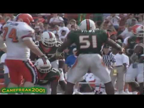 Jonathan Vilma, DJ Williams,  Dan Morgan Miami Hurricanes Highlights