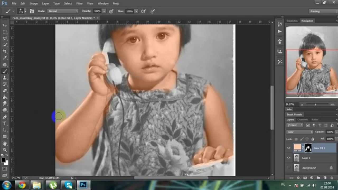 из черно белого фото в цветное урок в фотошопе как #8