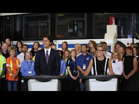Prime Minister Trudeau makes an infrastructure announcement in Ontario