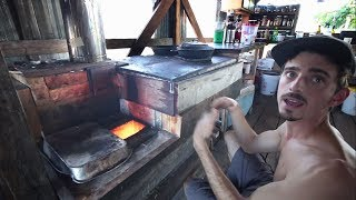Rocket Man Kyle Demos Amazing Rocket Stove Flat Cooking Surface