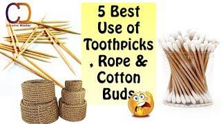 DIY Genius Use of Toothpicks, Rope & Cotton Buds I DIY Easy Craft Idea I Creative Diaries