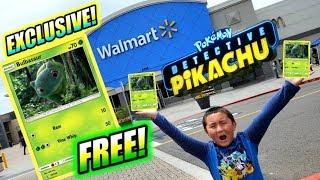 "FREE POKEMON CARDS AT WALMART! ""SUPER ULTRA RARE"" EXCLUSIVE DETECTIVE PIKACHU BULBASAUR CARD PROMO!!"