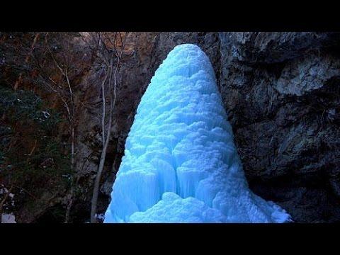 美しい氷柱になった北相木村の大禅の滝・4K撮影 - YouTube