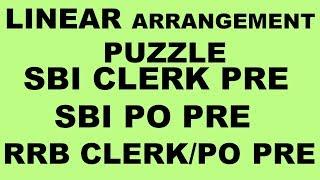 LINEAR ARRANGEMENT PUZZLE FOR SBI PO PRE    LINEAR ARRANGEMENT PUZZLE FOR SBI CLERK PRE