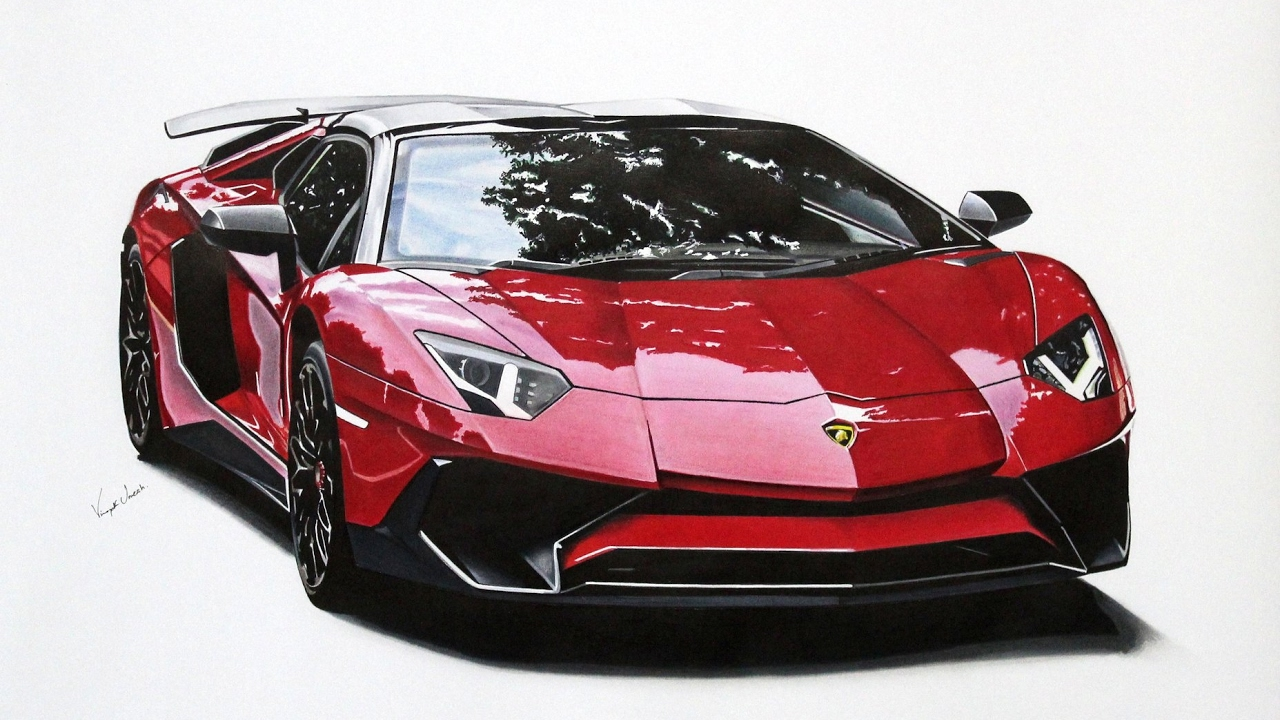 Lamborghini Aventador SV roadster drawing - YouTube