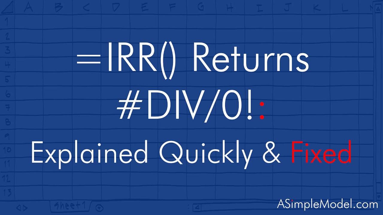 Fixed =IRR Returns DIV/20