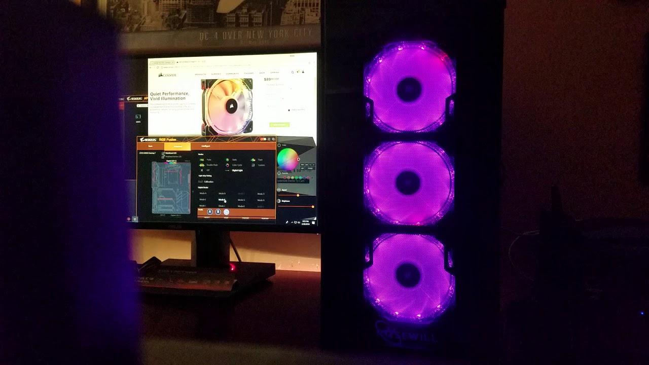 Corsair HD-120 using Gigabyte's RGB Fusion Software mod also Asus Aura